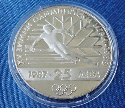 MINT Canada BULGARIA 25 levs 1987 Winter Olympic Games Calgary Silver