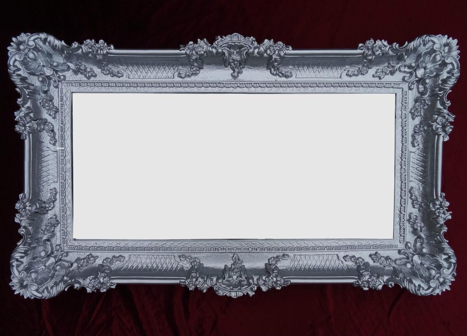 Barocco specchio da muro argento 96x57 antico rococo lussuoso bagno decorazione ebay - Specchio barocco argento ...