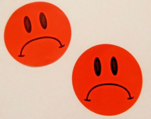 2 Red Unhappy Sad Face Stickers Auction Free Shipping 99 Cents .99 Cent