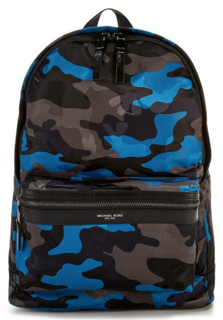 c6a211da0a4491 Michael Kors Mens Kent Large Backpack Midnight Camouflage Blue Black ...