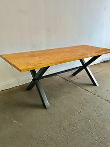 Details About New Reclaimed X Frame Dining Table Scaffold Board Style Top