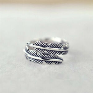 1-Pc-Vintage-Feather-Arrow-Opening-Rings-For-Women-And-Men-Silver-Jewelry-US