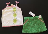 NWT Gymboree Mixed Doubles Outlet 3 3T Sweater Tank Top & Green Skort Skirt