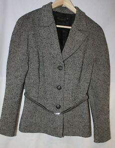 44 Jacket Spagnoli Uk And White With Fitted Louisa Black Wool So 12 Eu Belt vqdwYEC