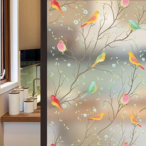Lifetree Givré Confidentialité Film en verre vitrail Film De Fenêtre Statique Accrocher Bird
