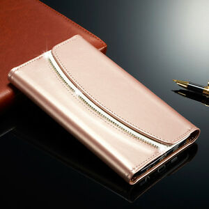 Luxury-Diamond-Crystal-Magnetic-Leather-Flip-Wallet-Case-Cover-For-Samsung
