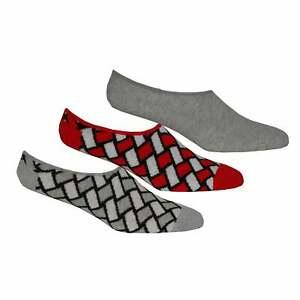 Happy Socks 3-Pack Basket Weave Men's Trainer Socks, Grey/Red