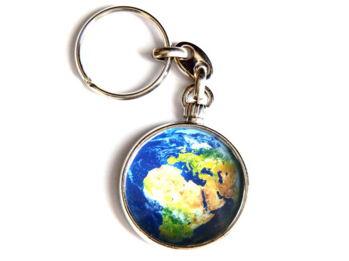 PLANET EARTH Outer Space Galaxy Quality Chrome Keyring Picture Both Sides