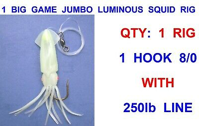 8//0 or 10//0 Large Winged Squid Lumi Fishing Rig for Ling Conger Bull Huss