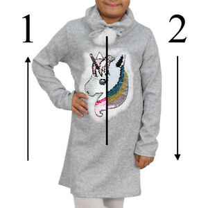 Fille-Pull-Robe-Enfant-Pull-Sweat-Reversible-Paillettes-Licorne-Col