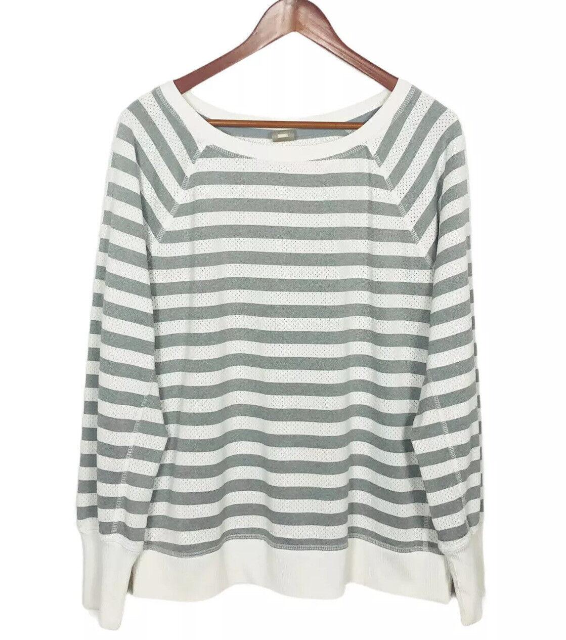 Xersion Women Long Sleeve Sweater Size XL Stripe White Gray Activewear