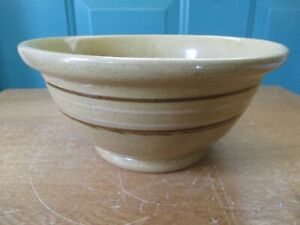 Vintage-Yellow-Ware-Stoneware-8-Inch-Mixing-Bowl-with-Brown-and-Tan-Stripes