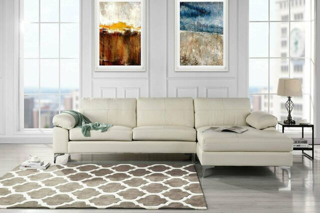 Magnificent Leather Sectional Sofa L Shape Couch With Chaise Off White Machost Co Dining Chair Design Ideas Machostcouk