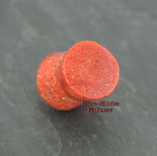 Piercing oreja túnel Plug tapones rojos coral 10-12 mm para gedehnte las orejas perforadas