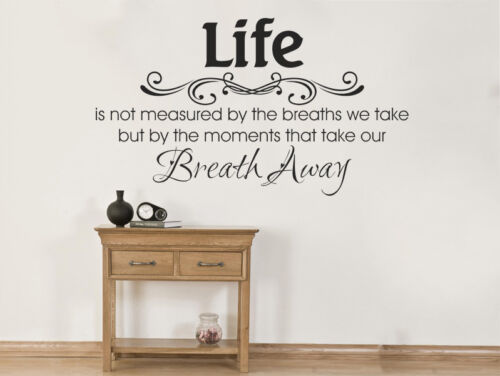 """Vinyl Wall Quote /""""Life Is Not Measured../"""" Modern Wall Sticker Decal Transfer"""