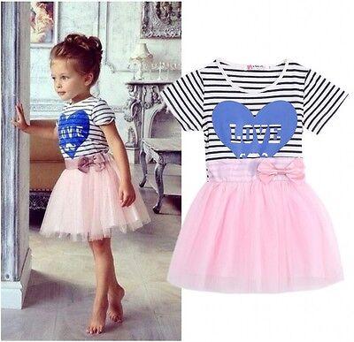 Elegant Baby Kids Girls Blue Love Pink Tutu Princess Tulle Party Dress 2~7Y