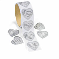 100 Silver Heart Thank You Special Day Stickers - Wedding Party Favors Labels