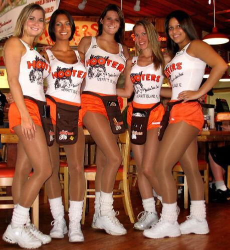 *NEW* Super Gloss Black//American Tan Shiny Cheerleader Hooters Pantyhose STW