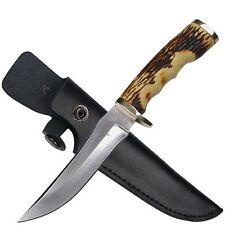 """Elk Ridge 027 Fixed 8"""" Knife w/Bone Handle & Leather Sheath"""