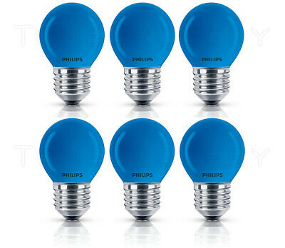 6 x Philips BLUE Colored Deco E27 15W 2700K P45 Appliance Party Christmas Bulb