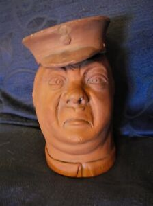 RARE-SIGNED-1917-TERRACOTTA-WW-1-DOUBLE-FACED-BRITISH-SOLDIER-JAR-HAPPY-SAD
