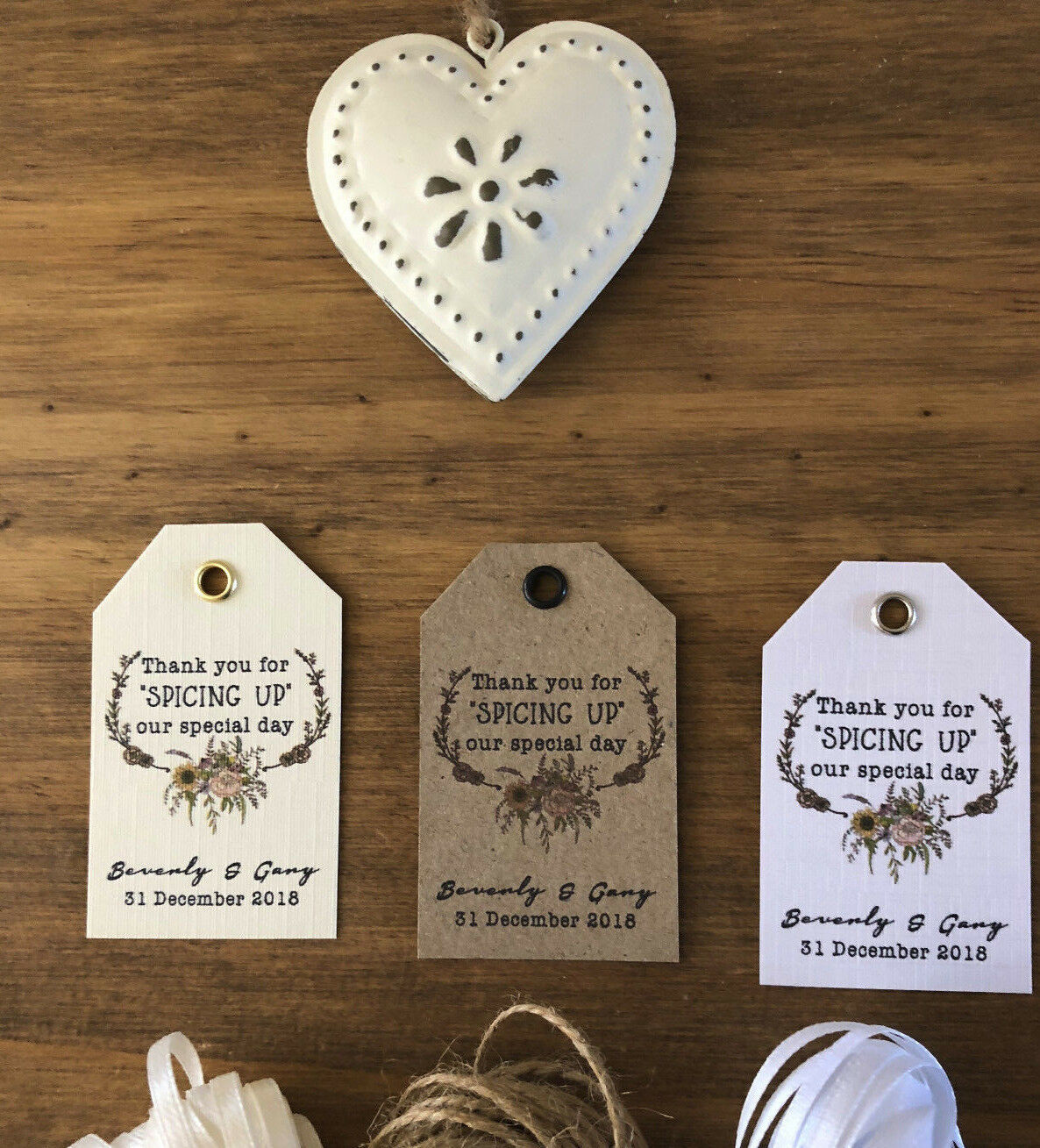 Personalised Wedding SPICING UP OUR DAY Favour Favour Favour Tags - BOHO Kraft Weiß Ivory 5 8bbaa1