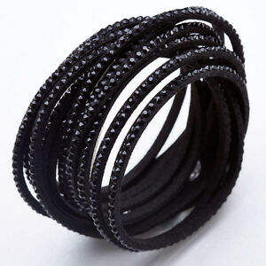 Details About Slake Crystal Wrap Bracelet Made W Swarovski Black Alcantara Leather