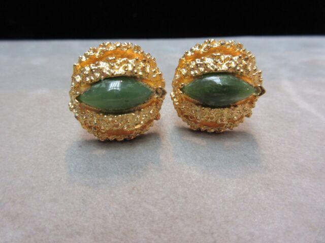 Vintage Estate Gold Tone Nugget Genuine Green Jade Cufflinks Designer Signed RH