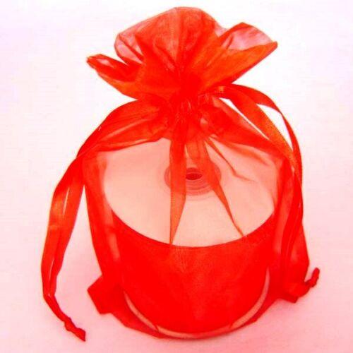 "3O Red Flat Organza Wedding Party Favor Sheer 4/""x 6/"" Bags"