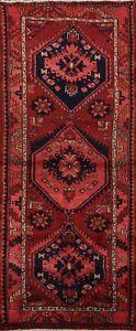 Vintage-Geometric-Hamedan-Traditional-Runner-Rug-Hand-knotted-Wool-Carpet-3x7