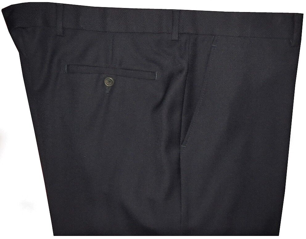 MINT DUNHILL MIDNIGHT NAVY TWILL WOOL MENS NO PLEAT DRESS PANTS MADE IN ITALY 40