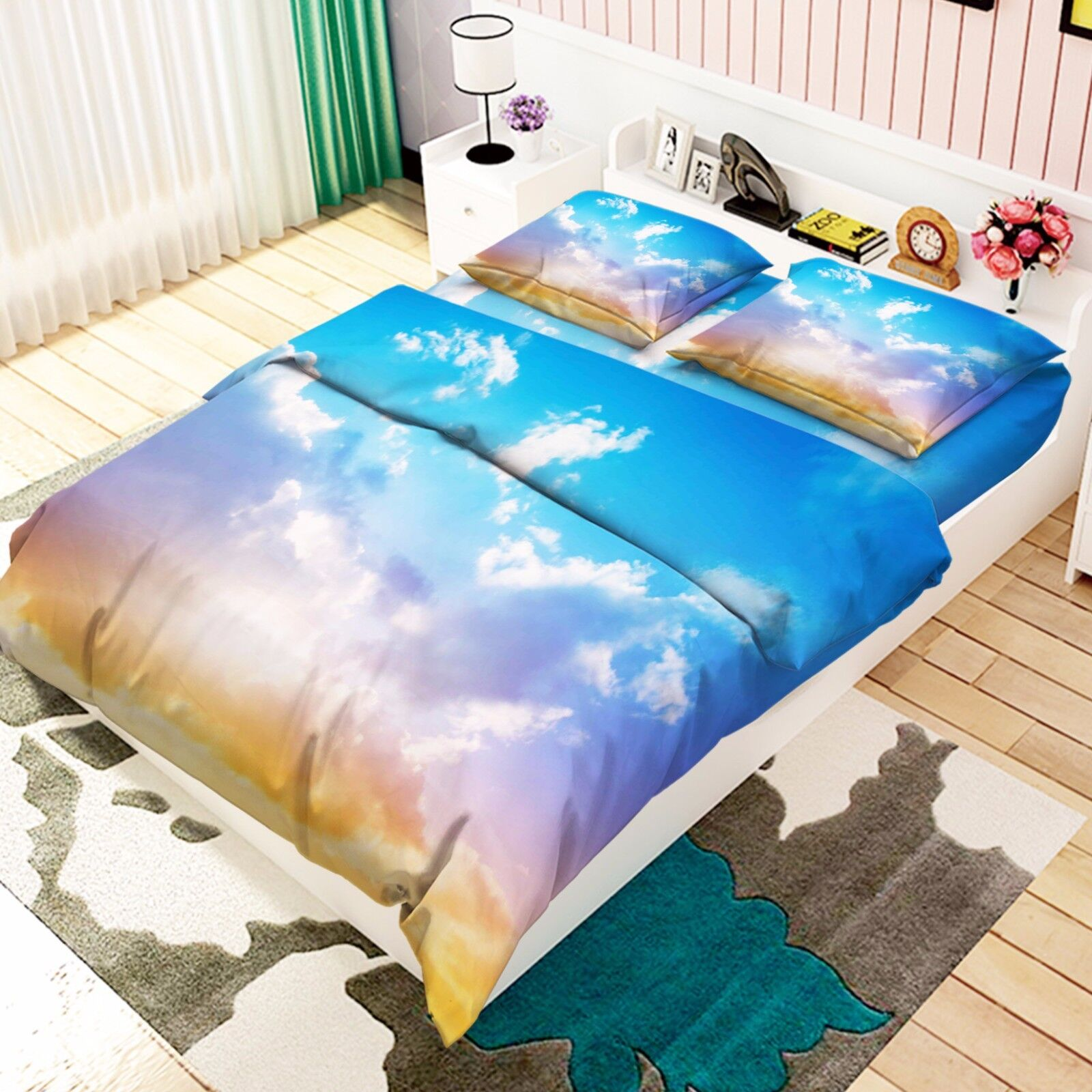 3D View Clouds 876 Bed Pillowcases Quilt Duvet Cover Set Single Queen UK Kyra