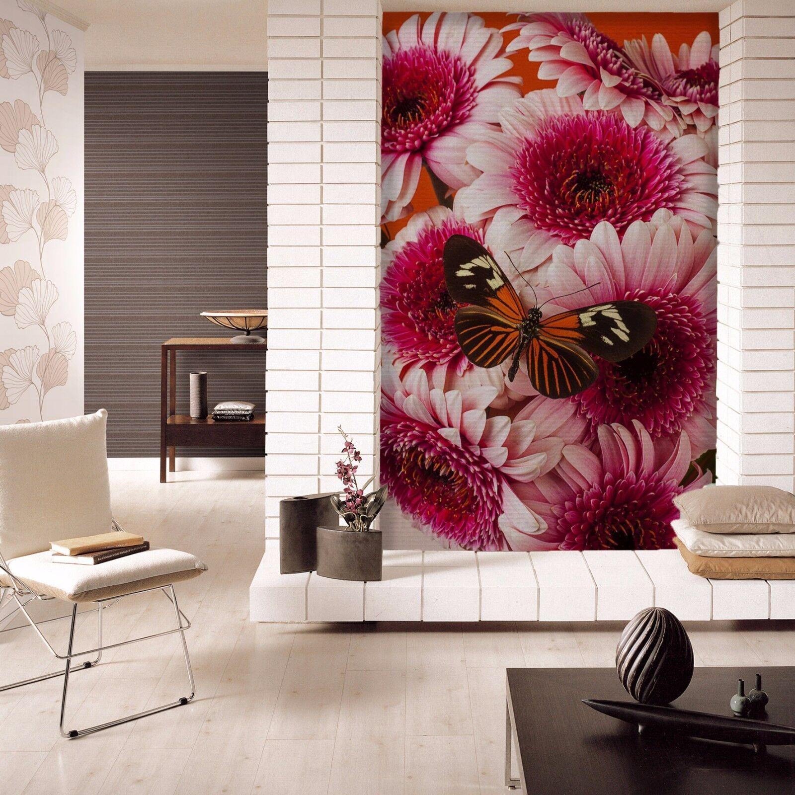 3D ROT Flower Butterfly 72 Wallpaper Mural Paper Wall Print Wallpaper Murals UK