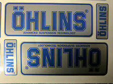4x Ohlins Silver & Blue Decals Stickers Suspension Bike Shock, motorcycle STUNT
