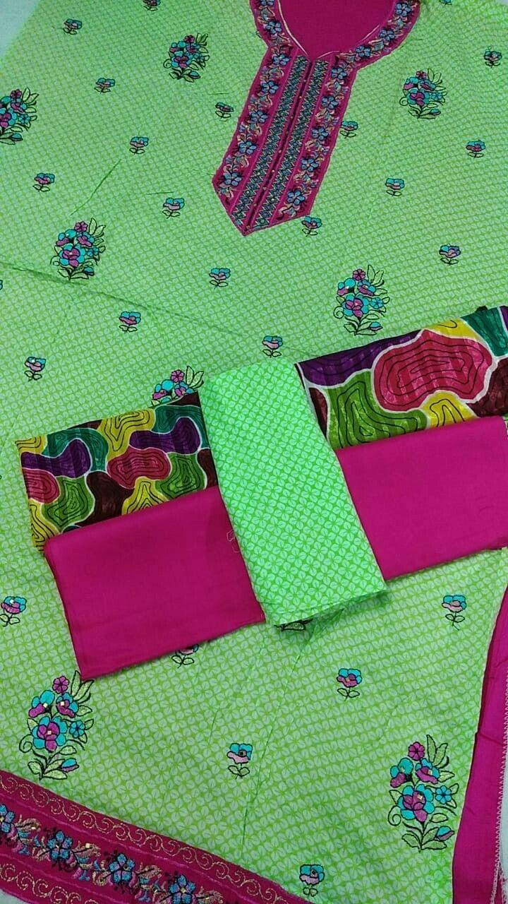 shalwar kameez pakistani linen ladies/girls suit 3 piece unstitched multicolore