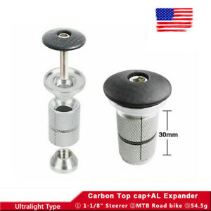 US-MTB-Road-Cycling-Bike-Aluminum-Expander-amp-Carbon-Fiber-Top-Cap-1-1-8-Threadless
