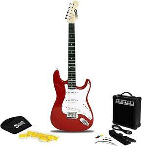 Rockjam e-guitarras-set tamaño predeterminado instrumento musical audio accesorios blanco rojo