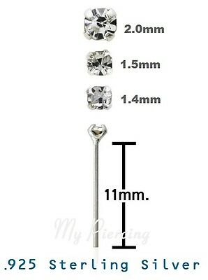 of color  22g ~1.4mm Prong Set C.Z .925 Sterling Silver Straight Nose Stud 2pcs