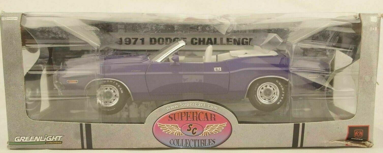 1:18 Greenlight SUPERCAR 1 1971 DODGE CHALLENGER CONVERTIBLE Plum Crazy come nuovo