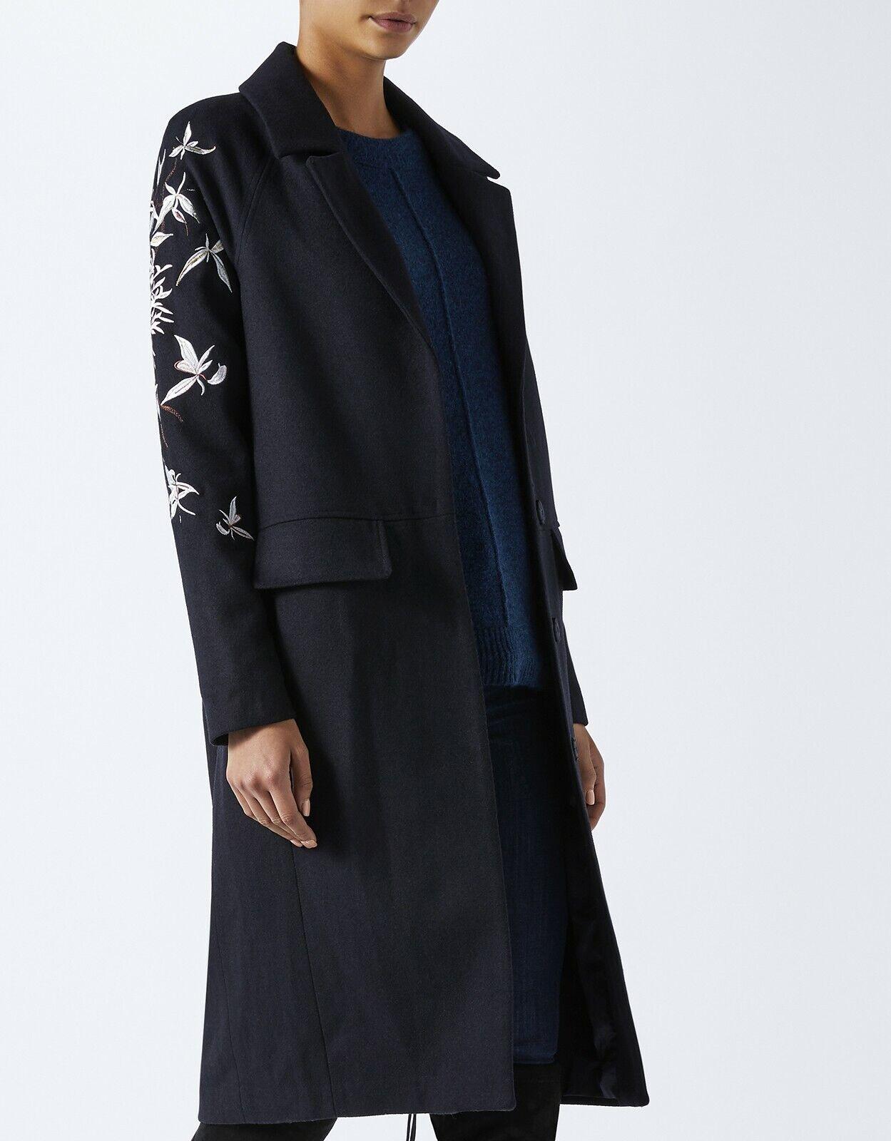 Monsoon Embroidered Long Coat - Navy - UK Size 8