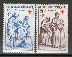 SERIE-TIMBRES-N-1140-1141-OBLITERES-TB-CROIX-ROUGE-DE-1957