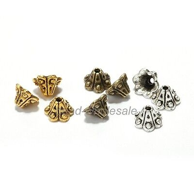 50 pcs Tibetan Silver Trumpet Petunia Flower Bead Caps End Beads Jewelry Finding