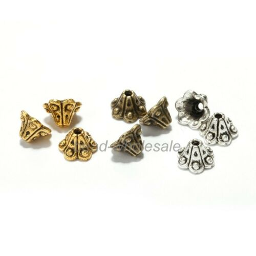 50Pcs Hot Antique Silver//Golden//Bronze Petunia Flower Bead Caps End Beads 6x9mm