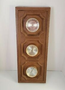 Vintage SPRINGFIELD Weather Station Barometer Humidity Thermometer Plaque