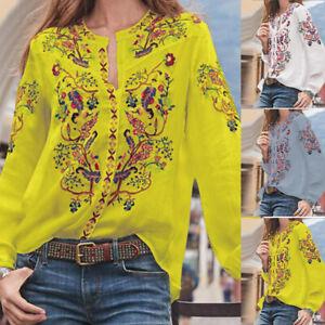 Mode-Femme-Imprime-Floral-Manche-Longue-Casuel-en-vrac-Tops-Haut-Shirt-Plus