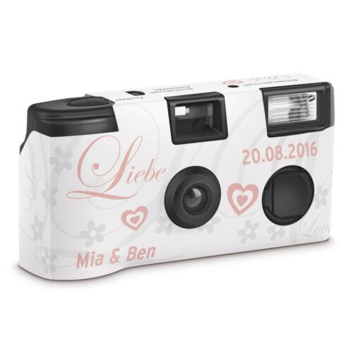 """Bodas cámara una cámara desechable /""""amor rosa/"""" con personalización"""