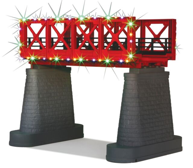 MTH 40 1116 Red Girder Bridge With Operating Christmas LED Lights O Gauge