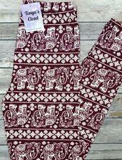 Burgundy Elephant Print Leggings Tribal India Inspired ONE SIZE OS