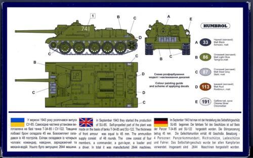 UM-MT Models 1//72 Russian SU-85 SELF PROPELLED GUN