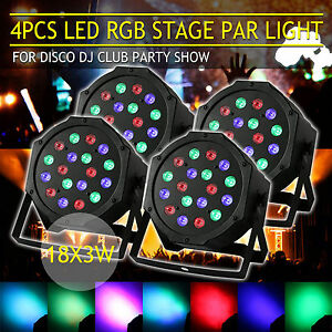4X-54W-RGB-LED-DMX-Par-CAN-DJ-Disco-Uplighter-Lighting-Effect-Strobe-Stage-Light